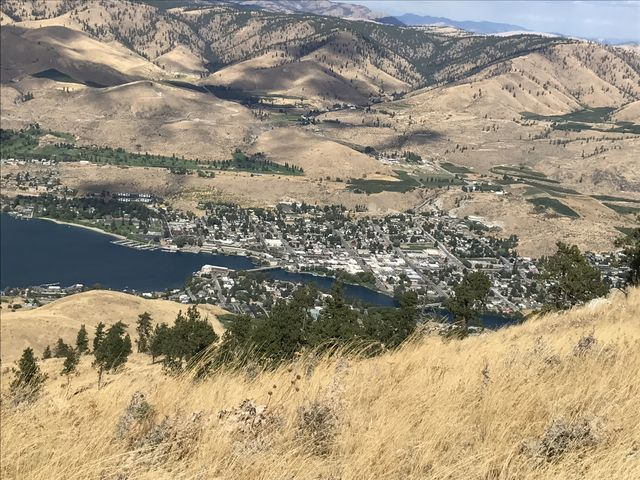 The city of Chelan, far, far below