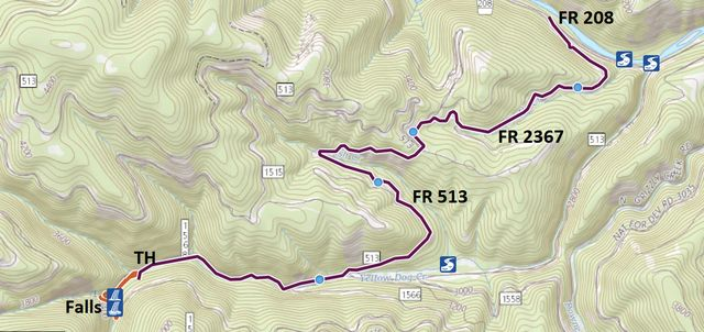Red: Hiking trail; Purple: Drive to the trailhead from FR208