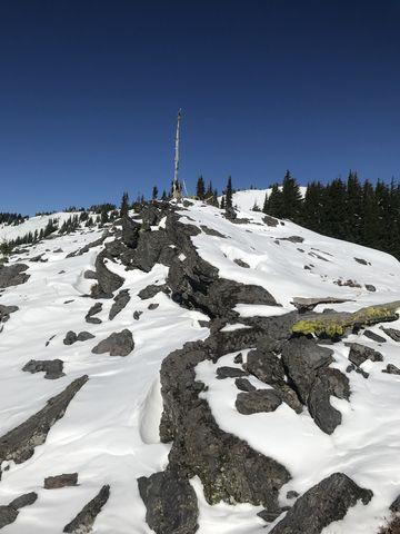 Looking upwards towards Latour Peak