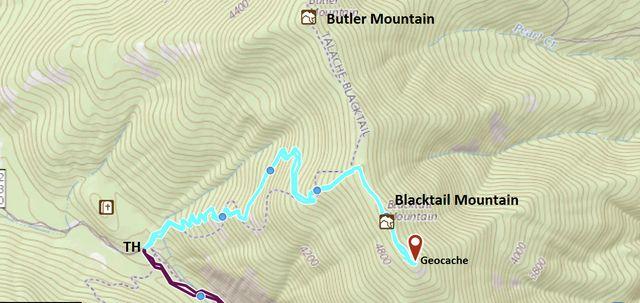 Teal: Blacktail Mountain trail; Purple: Maiden Rock trail
