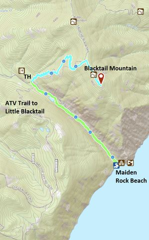 Green: Maiden Rock trail; Teal: Blacktail Mountain Trail. The marker is a geocache