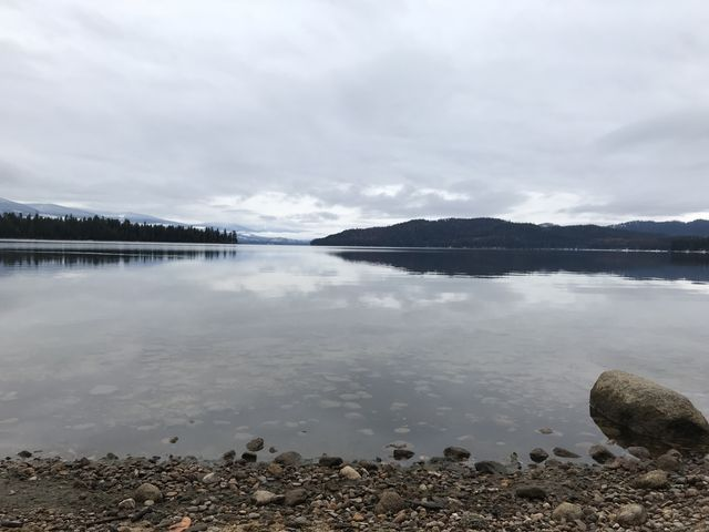 Looking across Priest Lake from the beach at the trailhead