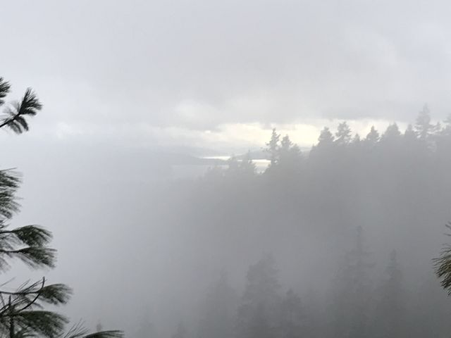 A crack in the fog and sudden views of Lake Coeur dAlene