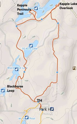 Red: Bluebird-30-Acre Loop; Orange: Stubblefield Lake Loop