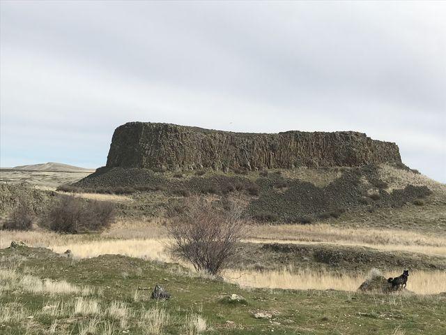 Rocky mesa ahead of Escure Ranch