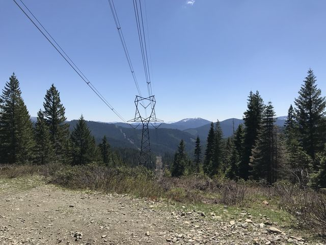 Powerlines: turnaround point (but #69 continues downhill to the Coeur dAlene River)