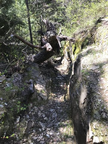 A narrow chute in the trail