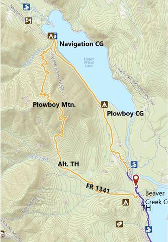 Orange: Plowboy Mountain trail; Purple: Lakeshore trail