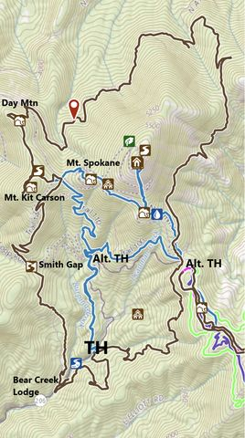 Black: Circumference Loop; Blue: Mt. Spokane Peak Loop; the lines in the lower right are XC ski trails