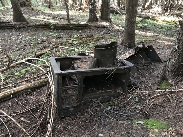 Reminders of an old logging camp. There was also a bunch of metal bowls, still neatly stacked and silently rusting away