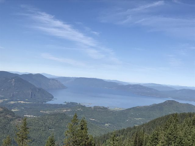 Lake Pend Oreille and the sheer cliffs of the Green Monarchs to the left