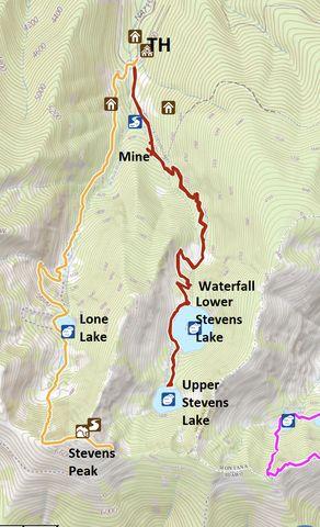 Red: Stevens Lake; Orange: Lone Lake to Stevens Peak loop; Pink: St. Regis Lake loop