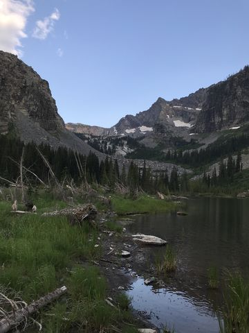 View south from the lake. Lentz Peak in the distance