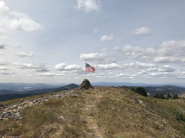A flag flying near Pearson Peak