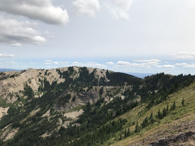 From Pearson Peak, looking back. Crystal Lake is hidden beneath those two ridges