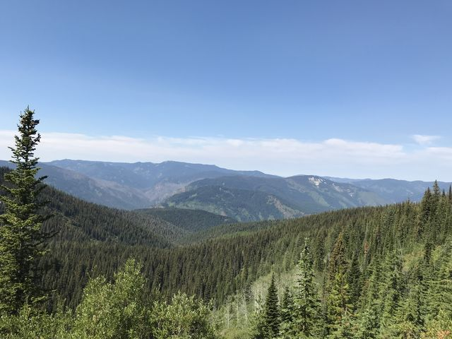 Looking back down the Larkins Creek canyon to the Little North Fork