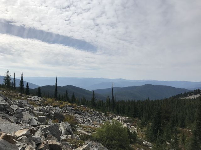View into the Coeur dAlene Mountains. The wooded ridge in the foreground is Goat Ridge