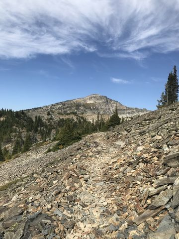 Theres lots of talus along the sides of Goat Peak. Engle Peak in the distance