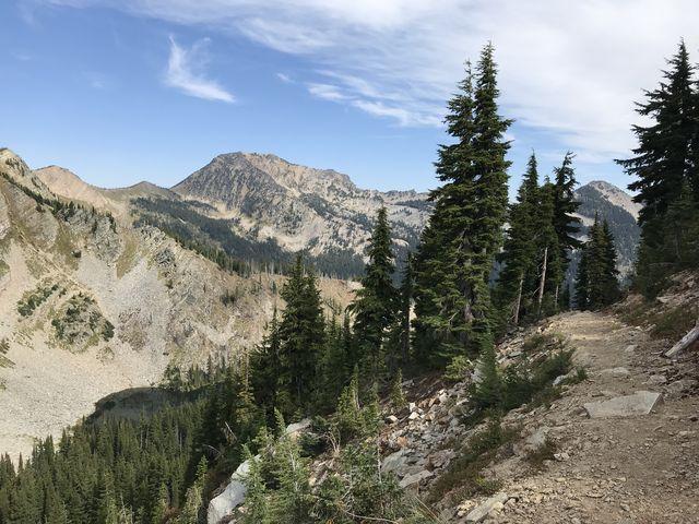 Upper Wanless Lake #1 far below Goat Pass