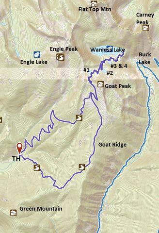 Dark blue: Wanless Lake Loop; Lighter blue: Buck Lake Loop