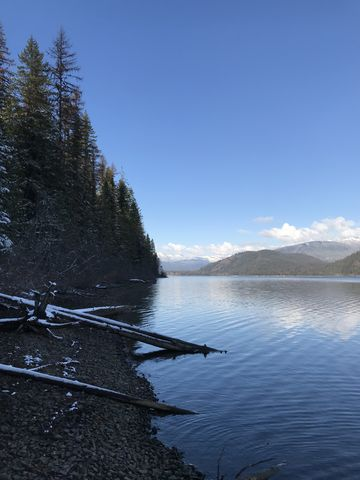 Looking north along the shore of Upper Priest Lake