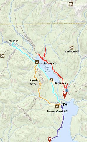 Teal: Navigation Trail; Orange: Plowboy Mountain Trail; Red: Upper Priest and Trapper Creek Trail; Purple: Lakeshore Trail